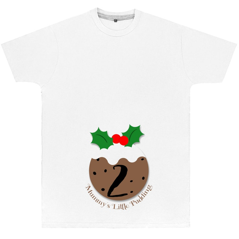 Mummys Christmas Pudding T Shirt TShirt T-Shirt Top Matching New Arrival Baby Announcement Toddler Reveal Brother Sister Promoted To AS143