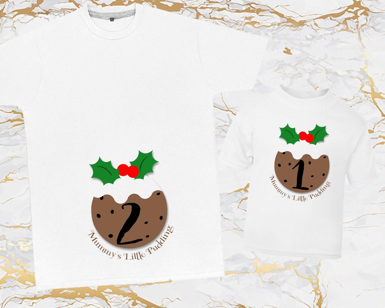Mummys Noël Pudding T Shirt TShirt T-Shirt Top assorti nouvelle bébé arrivée bébé nouvelle annonce bambin révèlent frère soeur promu au AS143 e185bc