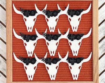 Bull Skull Letter Board Accessory and Icon