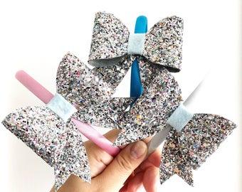 Sparkle Bow Headband / Glitter Bow Headband / Hard Satin Headband
