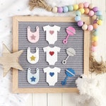Baby Letter Board Icons / Baby Shower Letter Board Accessory Set / Set of 3 Icons