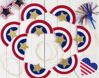 4th of July Banner / Fourth of July Banner / Star and Red, White and Blue Garland