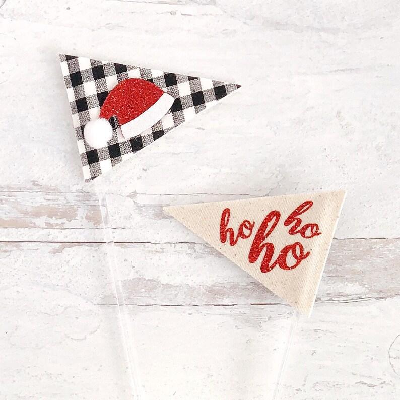 Double Sided Santa & Ho Ho Ho Decor Pick image 0