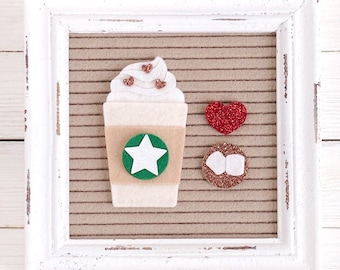 Interchangeable Coffee Cup Letter Board Accessory and Icon