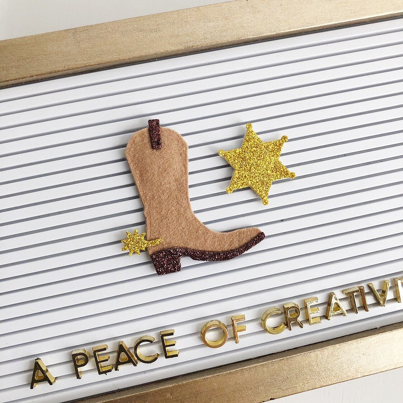 Cowboy Boot and Sheriff Star Letter Board Icons and image 0