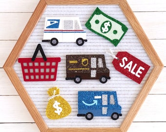 Shopping Letter Board Icons and Accessories