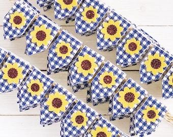Sunflower and Blue Buffalo Check Mini Banner