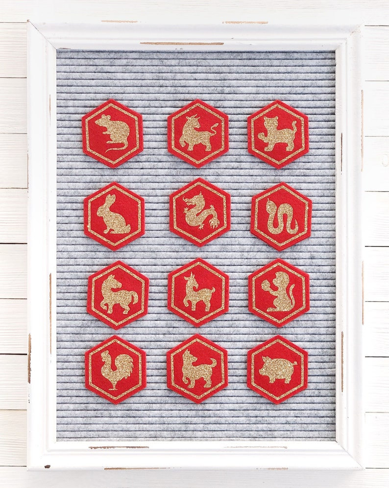 Chinese Zodiac Letter Board Icons and Accessories image 0