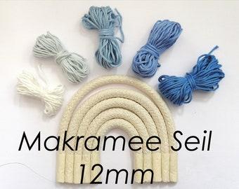 12mm DIY Macrame Rainbow Rope Braided Rope Cotton Rope Macrame Rope