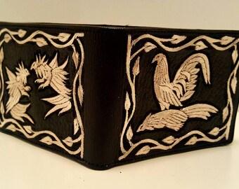 ab71295a1 Cartera artesanal de piel bordada a mano con hilo de plata. Real hand  crafted wallet in silver thread. Made in mexico