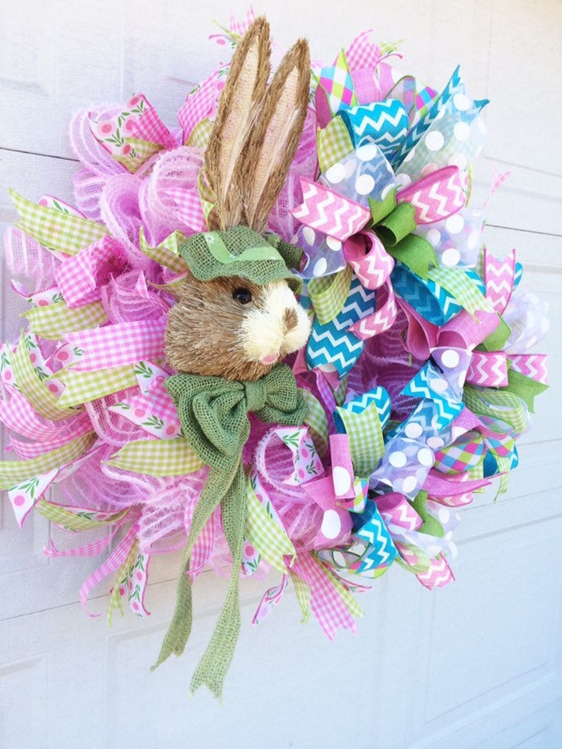 bunny wreath welcome spring wreath Easter front door wreath Spring bunny welcome wreath bunny decor easter decor spring front door