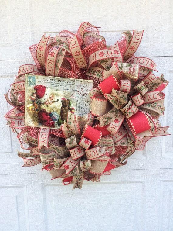 Santa Christmas Wreath Christmas Front Door Wreath Santa