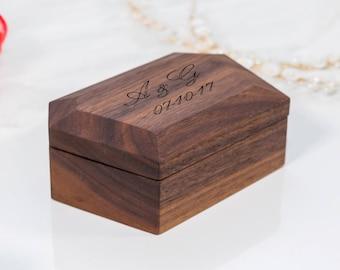 WALNUT Diamond Shape ring bearer box wedding ring box ring box wedding ring holder wedding  ring holder wood ring box ring boxes ring bearer