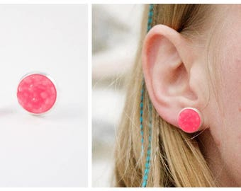 Studs, Stud Earrings pink neon copper lead and Nikel bubbly woman, boho trend