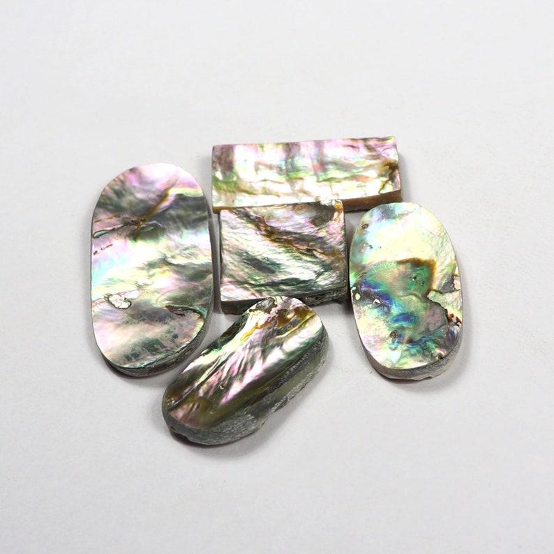 Amazing Abalone Shell Cabochon Loose Gemstone Natural  Abalone 5pcs 127Cts Shell Handmade Polish Jewelry Making  Loose Gemstone SKU9496