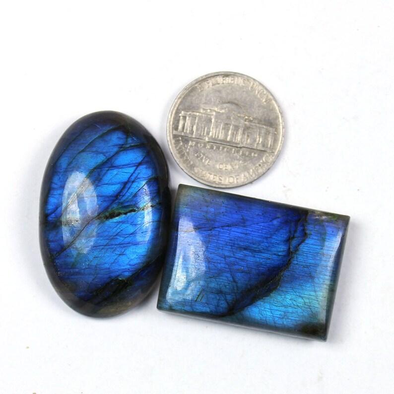 37x23mm Natural Blue fire Labradorite Cabochons Spectrolite Blue Labradorite Jewelry Making Loose Gemstone #SKU1839 2 Pcs Of 143Cts