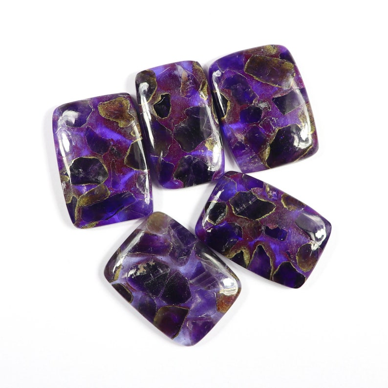 Amethyst Copper Handmade Polish Jewelry Making Loose Gemstone,#SKU9617 Natural Spiny Copper Amethyst Cabochons,5 Pcs New Arrival+