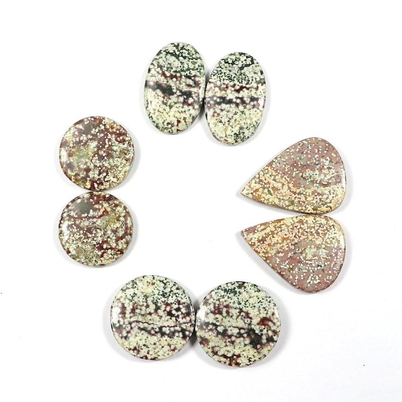 Mix Lot Natural Ocean jasper Cabochons,4 Pair Natural Ocean Jasper Handmade Smooth Ocean jasper Jewelry Making Loose Gemstone Pair#SKU9705