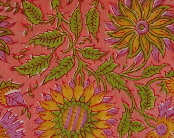 fabric, block print with border, pink and yellow dahlia flower collection