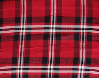 fabric viscose / wool madras Plaid, red, black and white
