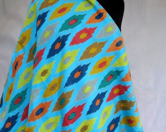 fabric, cotton printed blue and multicolored, collection large Harlequin