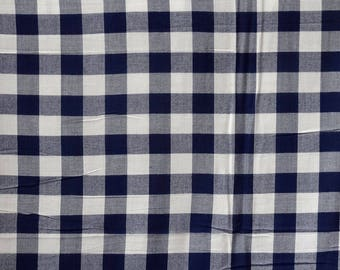 cotton fabric / wool madras Plaid blue and white