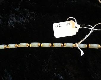 Jade and 14k gold bracelet