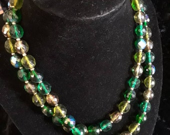 Joan Rivers green and grey beaded necklace