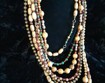 Multi strand wooden bead necklace