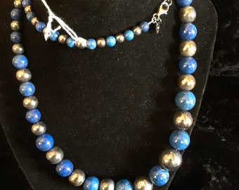 Lapis and 925 silver bead necklace