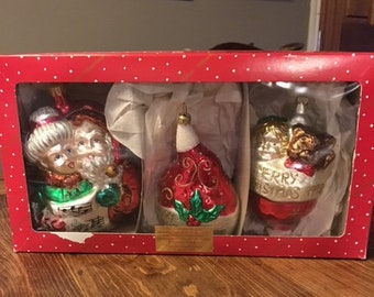 set of 3 dillards trimmings glass christmas ornaments