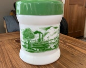 Vintage Milk Glass River Boat Scene White Canister with Green Lid, Cigar Humidor