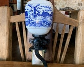 Delft Blue Coffee Grinder, Cast Iron and Porcelain