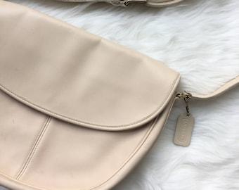 Vintage Coach Large Half Moon Rounded Off White Cream Leather Purse Bag Bonnie Cashin