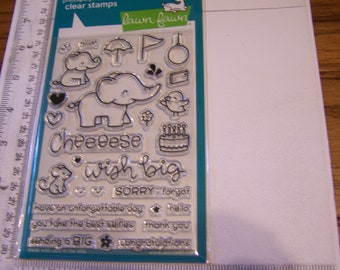 Lawn Fawn Elfie Selfie Clear Stamp Set Elephant Congratulations Birthday