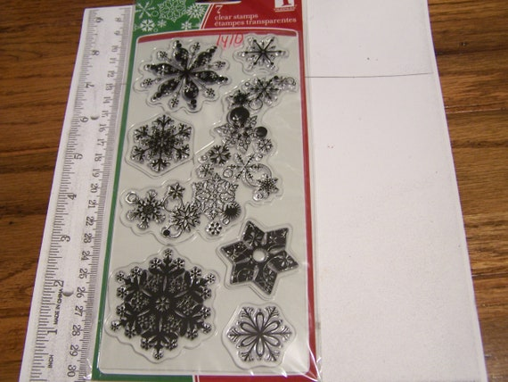 SNOWFLAKES Christmas Clear Stamp Set Inkadinkado  FREE SHIP!