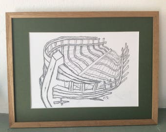 Charcoal Drawing: Boat Skeleton - Camaret-sur-Mer (29.7cm x 42cm A3)