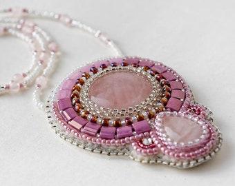 Rose Quartz pendant, Bead embroidered necklace, Beadwork, Handmade Gift