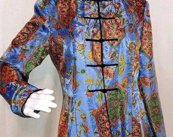 Adrianna Papell Womens size Six Silk Asian Mandarin Collar Floral Blouse top