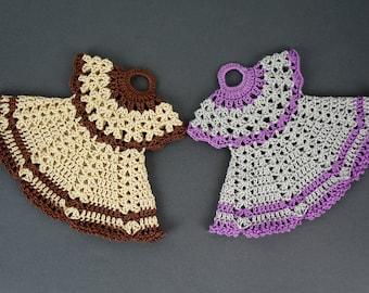 Crochet Pot Holders, Dress Potholders, Crocheted Potholders, Crocheted Hot Pads, Crochet Doily, Kitchen Decoration