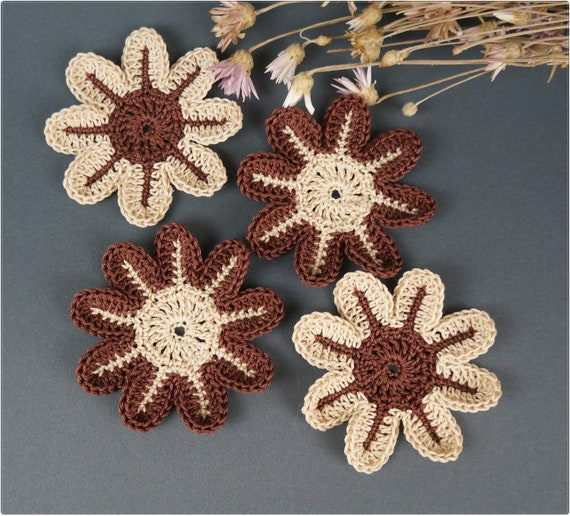 1f272232bf6e3 Crochet flower Set 4 pcs Brooch Crochet Flower Hat decorate flower Clothes  decoration Flower application Decorate flower Cloth accessory