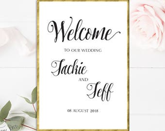 Printable Script Welcome Wedding Sign Custom Wedding Welcome Sign Wedding Decor Wedding Printable Calligraphy Wedding Sign Wedding Welcome