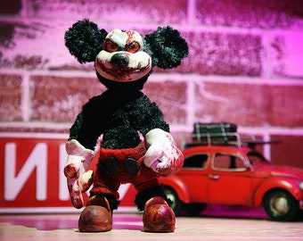 Evil Mickey Mouse Monster original fashionable Handmade toys exclusive gift doll Artpet sculpture custom mouse Polymer Clay Sculpture
