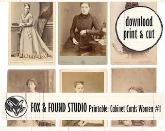 Antique Cabinet Card Photos Printable Ephemera digital download, A4 sheet, old photos, junk journaling, collage, mixed media, women, ladies
