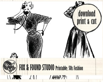 Vintage 1950s Fashion Printable digital download, A4 sheet, junk journaling, collage, mixed media, black & white, ladies, women