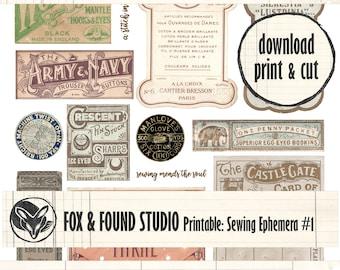 Printable Vintage Sewing Ephemera #1 digital download, A4 sheet, junk journaling, collage, mixed media, haberdashery