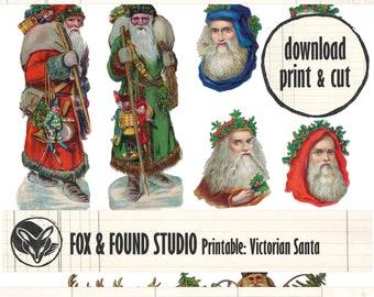 Printable Santa Victorian Scraps Ephemera digital download, A4 sheet, junk journaling, collage, mixed media, Christmas, seasonal