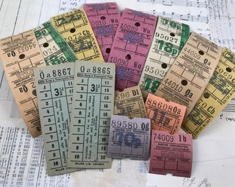 Vintage bus ticket bundle, 30 tickets in singles and strips, junk journaling, art journaling, bujo, collage, mixed media