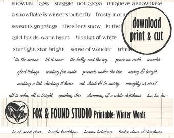 Winter Words Printable digital download, A4 sheet, junk journaling, collage, mixed media, Christmas, cardmaking