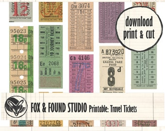 Printable Travel Tickets Ephemera digital download, A4 sheet, junk journaling, collage, mixed media, bus tickets, travel journal